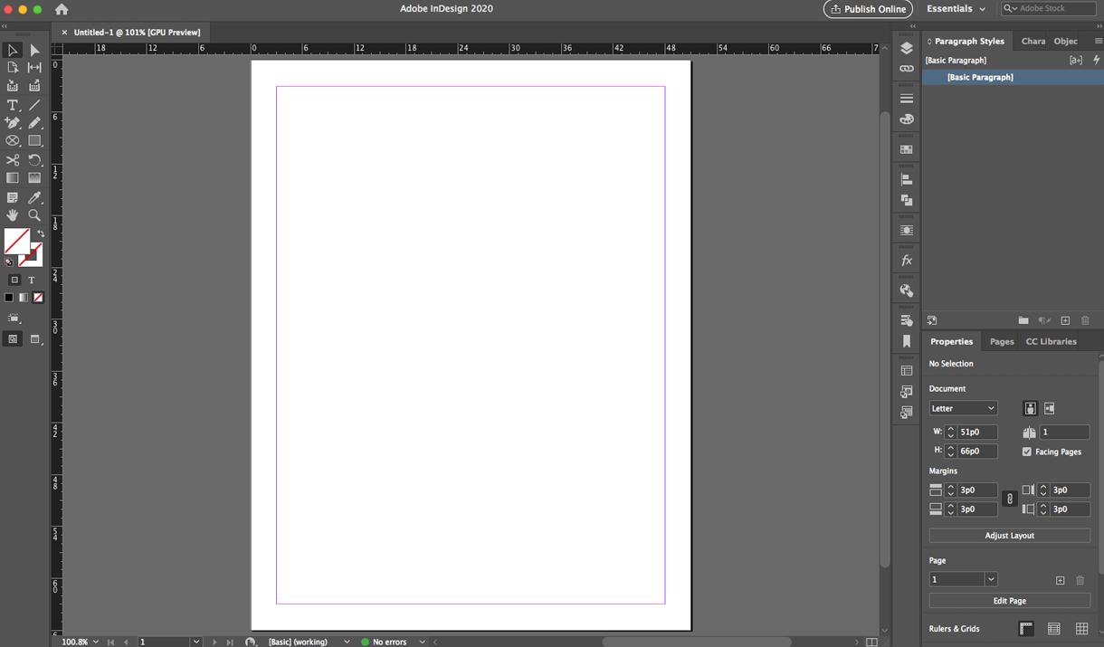 Blank indesign document