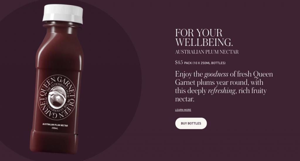 Plum juice website screenshot