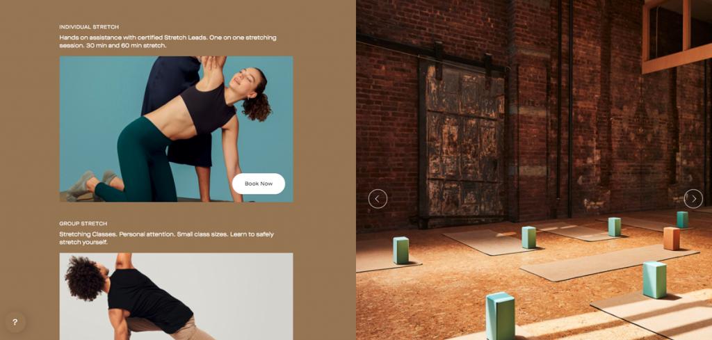 Screenshot of stretching website